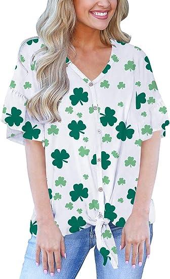 Womens Tie Front Knot Tops Shirts Stripe Button-Down T-Shirt Cute Blouse Short