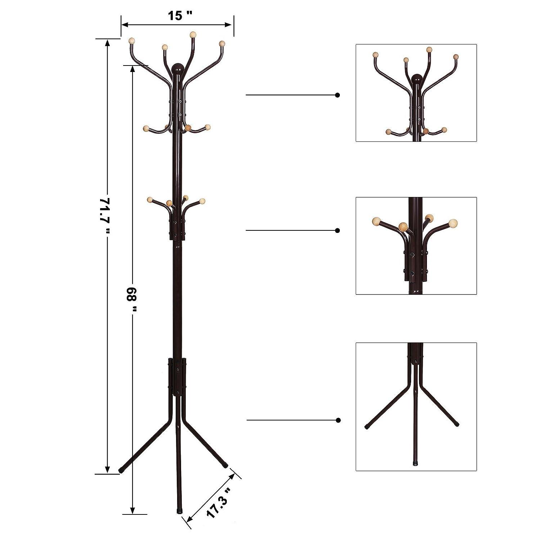 Amazoncom Songmics Metal Coat Rack 12 Hooks Display Hall Tree