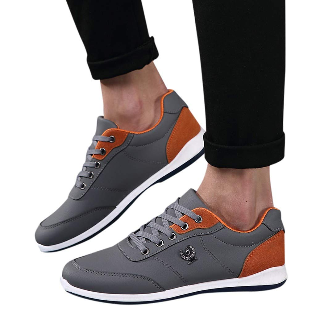 Lloopyting Mens Pu Solid Color Causal Shoes Light Comfort for Walking Gym Lightweight Fashion Sneakers Lace-Up Flat Shoes Gray by Lloopyting (Image #3)