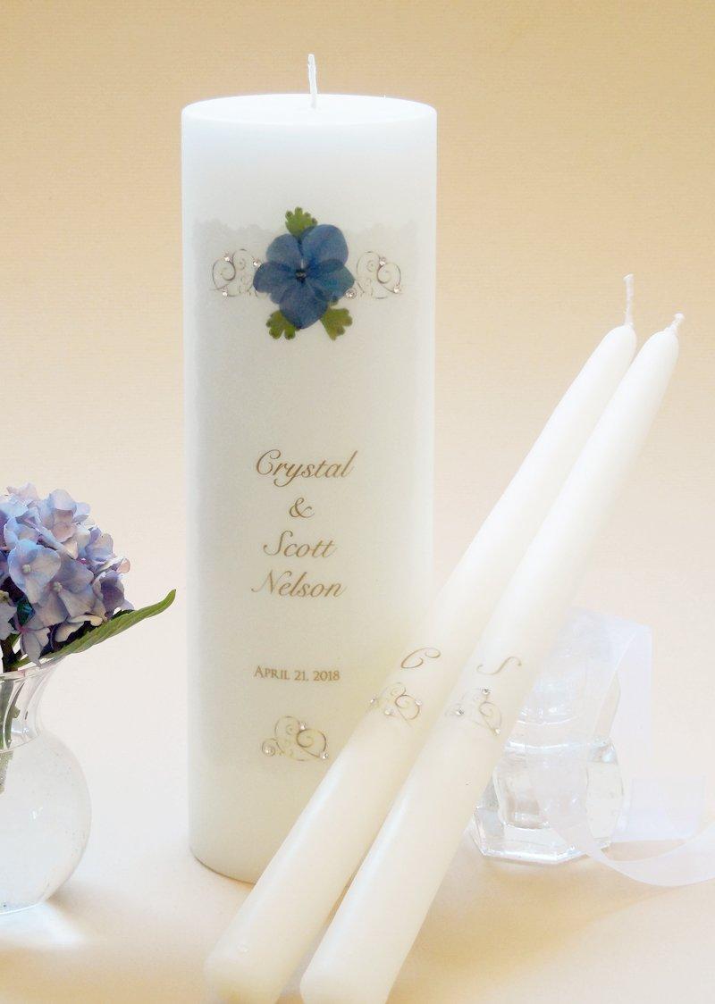 Gold Elegance Wedding Unity Candles - Dark Blue Hydrangea