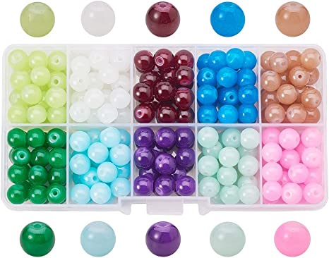 "10 Strands Mix Spray Painted Transparent Glass Bead Round 6mm 30/"" Jewelry Loose"
