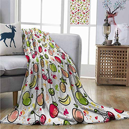 - Homrkey Plush Throw Blanket Fruits Watercolor Pear Cherries Kiwi Apple Brushstroke Splashes Cute Kids Kitchen Lightweight All-Season Blanket W70 xL84 Peach Lime Green Red