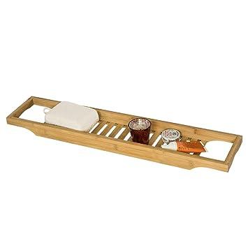 SoBuy Bandeja para Bañera de Bambú, Estante para Ducha, Estante de Baño,FRG18
