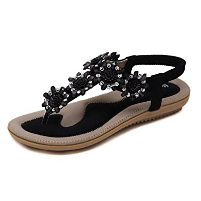 a75f932c0f5a Meeshine Women s T-Strap Sparkly Summer Beach Thong Flat Sandals flip-Flop  Dress Shoes