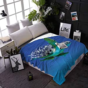 carmaxs Baby Blankets Turtle Custom Blanket for Couch Bed Sofa Aquatic Theme Photo Tropical Exotic Sea Animal Swim Aquarium Wildlife 50 x 60 Inches Violet Blue Fern Green