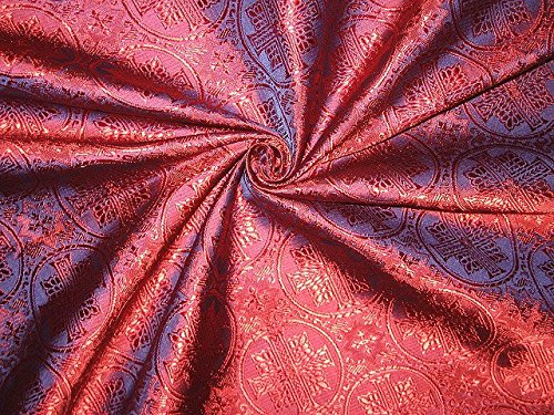 Vestment Fabrics - SILK BROCADE VESTMENT FABRIC PRETTY RED COLOR - vestment,religious,church,Sewing