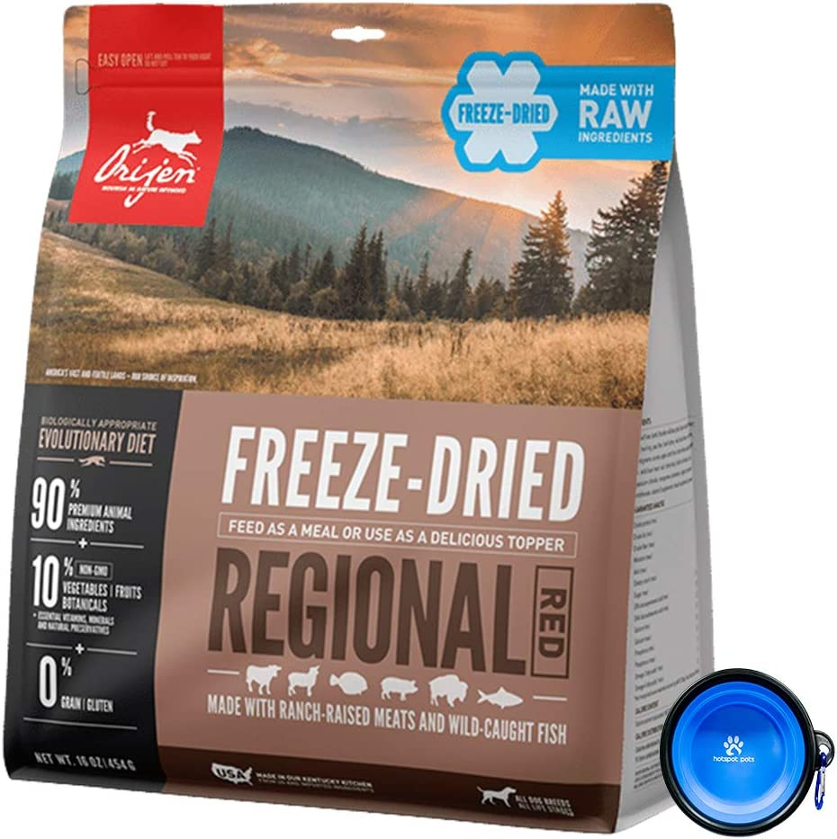 Orijen Freeze Dried Dog Food Snacks, Freeze-Dried Raw 16-Ounce Bag with Hot Spot Pets Food Bowl - Made in USA (Regional Red)