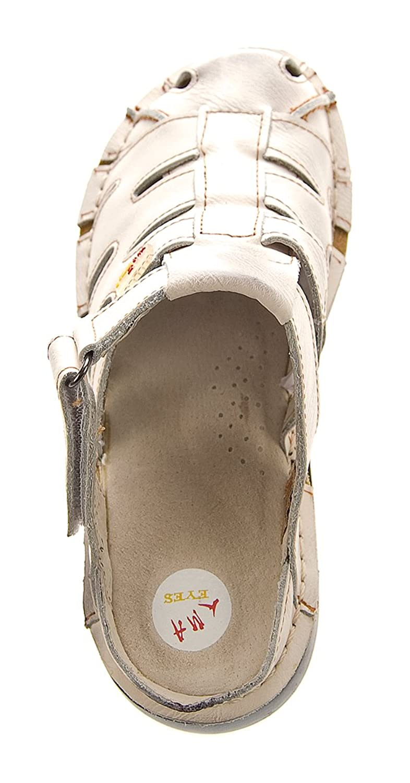 TMA Damen Leder Clogs Comfort Schuhe Echt Leder Sandalen Slipper Pantoletten 8891 Weiß-Creme Gr. 36 sdDmLavP