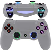eXtremeRate Multi-Colors Luminated D-pad Thumbstick Trigger Home Face Buttons, Black Classical Symbols Buttons DTFS (DTF…