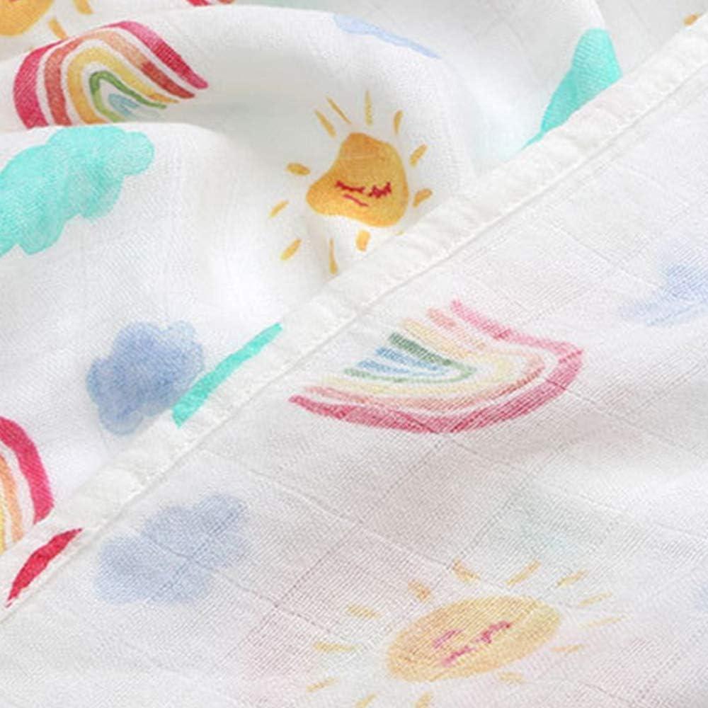 JYCRA Manta de Muselina beb/é 120 x 120 cm 120 x 120 cm para ni/ños y ni/ñas Rainbow de algod/ón org/ánico y Transpirable algod/ón