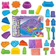 Kinetic Sand Magic Amazing Space Sand Fun Little Toys Sculpts Castle Architecture Set 28 pcs Molds Tool Kit - Includes 3 Sand Packs and 1 Sand Tray