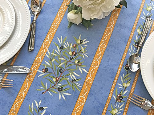 72 to 130 in Easy Care Rectangular or Oval Tablecloth Olives Branches in Blue - Please Choose the size and the Shape - Acrylic Coated Stain Resistant Indoor Outdoors Tablecloth