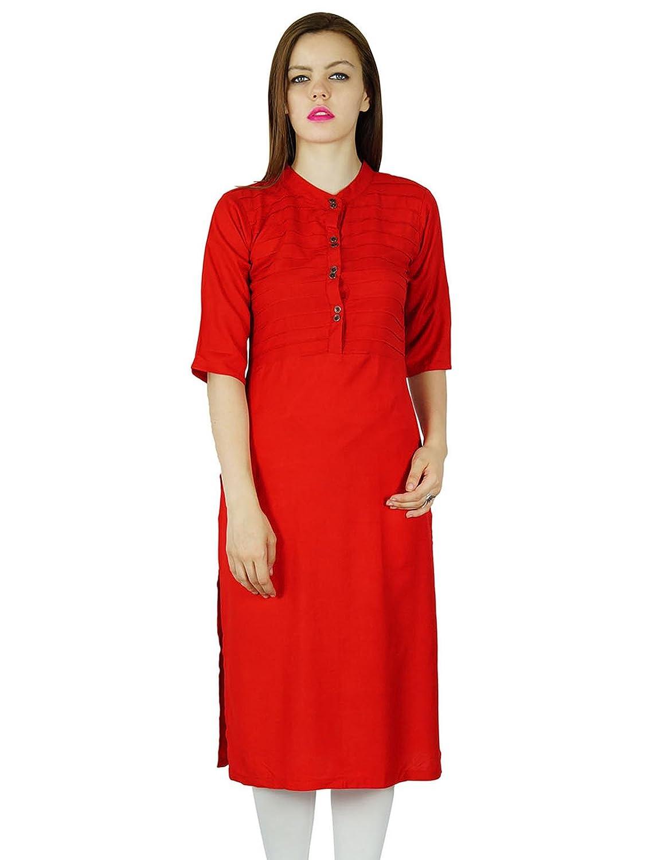 Bimba Women Rayon custom Kurta Kurti Summer Tunic Long Top Blouse Clothing