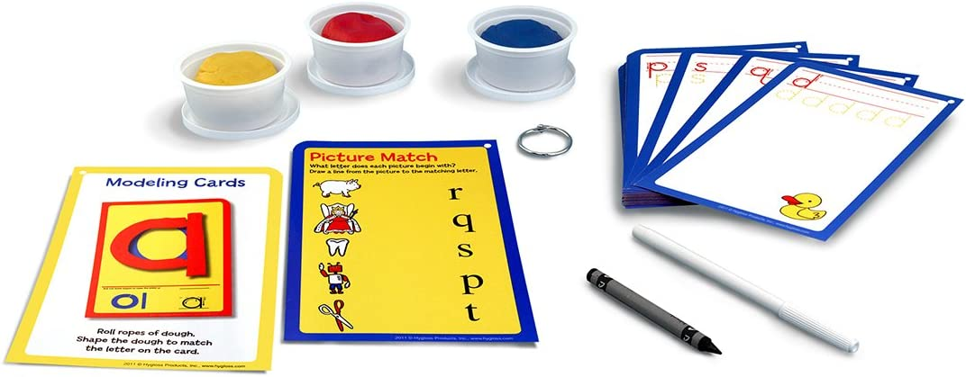 32 Write /& Wipe Cards with Dough Hygloss Products Play Dough Language Kit Lower Case Letters A-Z
