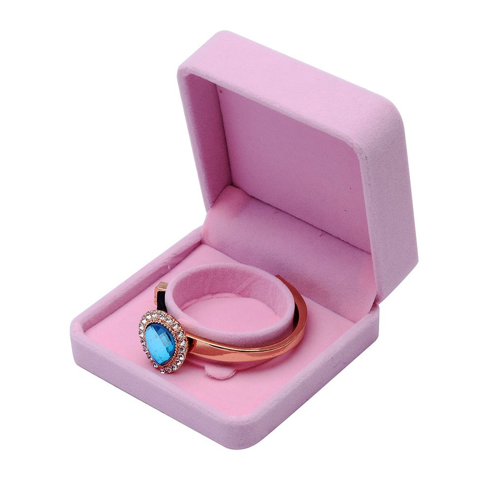 Midress Pink Velvet Jewelry Box, Unit Classic Velvet Couple Ring Box Earring Jewelry Case Gift Boxes (C)