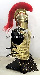 NAUTICAL MART nautique Mart grecque authentique Laiton musculaire armure avec casque corinthien