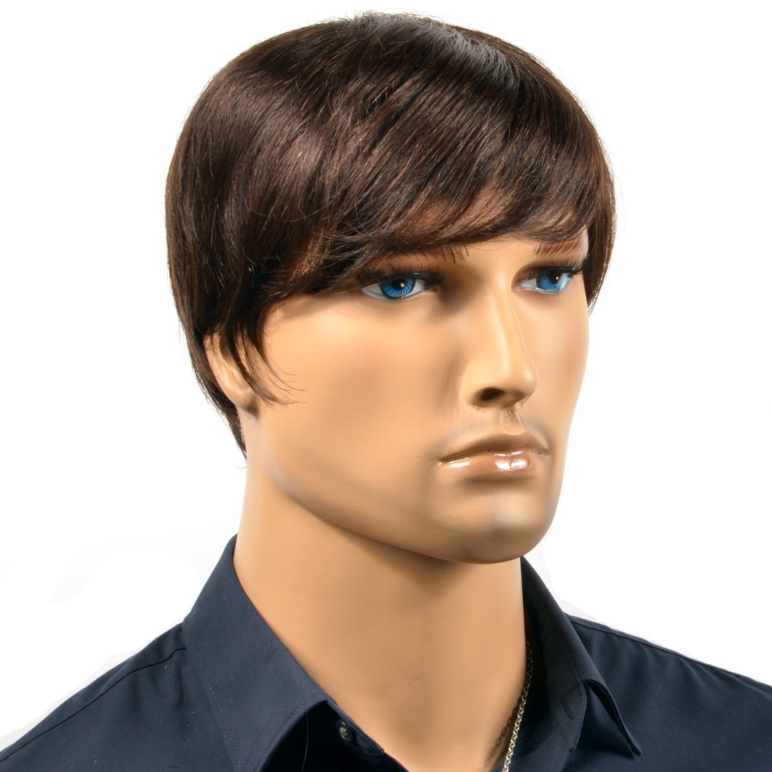 Amazon.com   COOL 100% Real Human Hair Short Straight Men Wigs Costume Wig  Black Thin Skin Men s Toupee Men s Hair Replacement Funny Party   Beauty 7216ee2e6