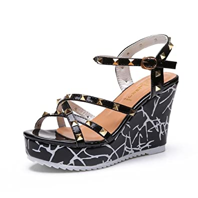 cd693387536 Lolittas Summer Gladiator Diamante Sandals Shoes for Women Ladies,Glitter  Sparkly Sequin High Heel Wedge Platform Lace up Peep Toe Slingback Size 2-6