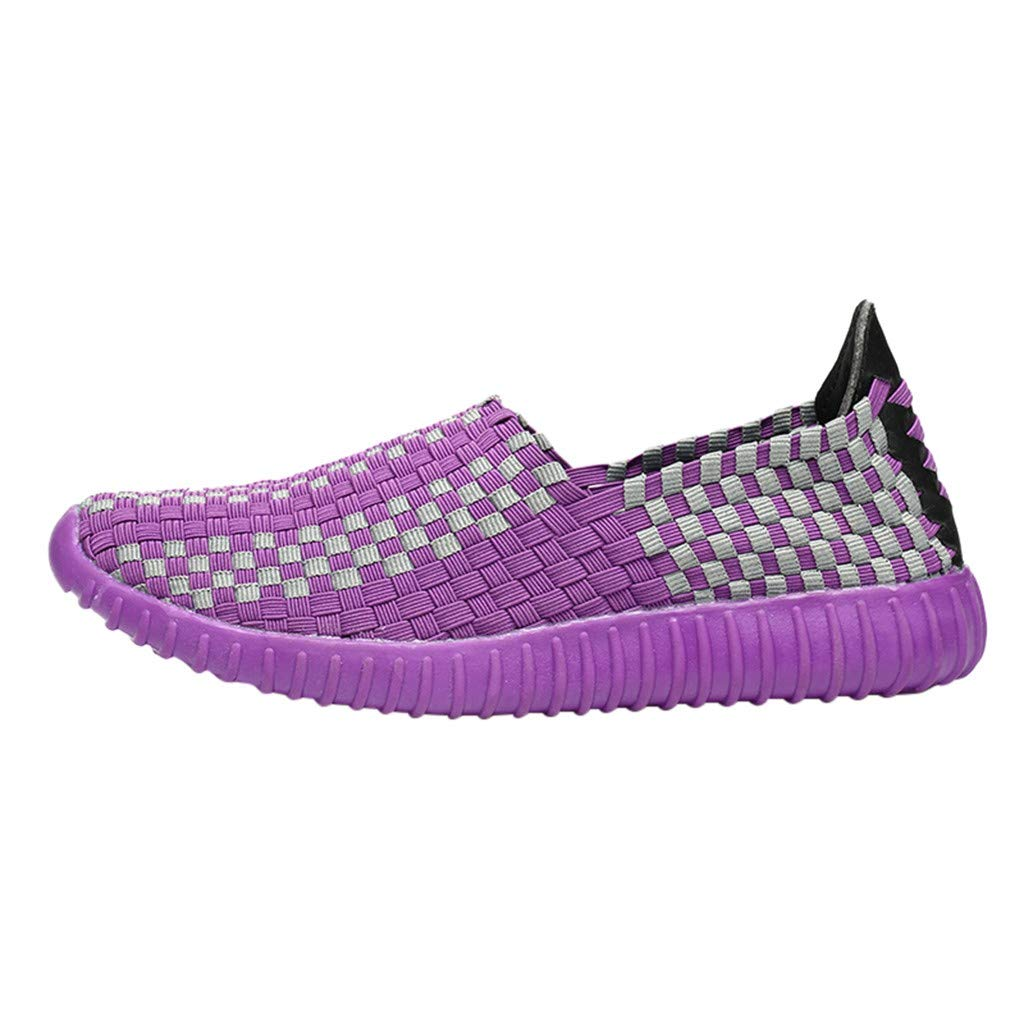 Moonker Womens Running Shoes Arch Support Wide Width Sneaker Ladies Girls Summer Woven Shoes Lazy Couple Casual Shoes