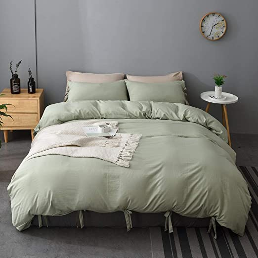 Amazon Com M Meagle Green Duvet Cover Queen 90x90 Inch With Bow