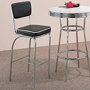 Remarkable Set Of 2 50S Black Retro Nostalgic Style Bar Chairs Stools Ocoug Best Dining Table And Chair Ideas Images Ocougorg