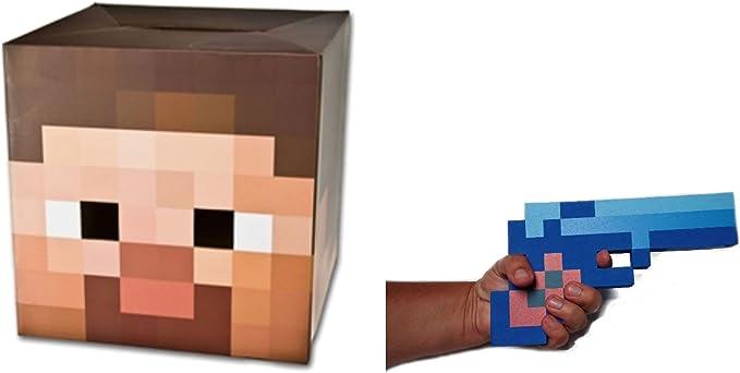 Minecraft Steve Cardboard Head Mask With Blue Diamond Foam Pixel Gun Costume Set