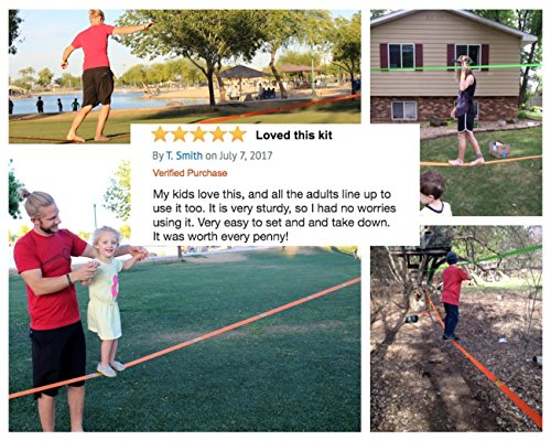 Slackline Kit with Training Line Tree Protectors + Ratchet Cover Complete Slack Line Kit Ideal for Family Outdoor Healthy Fun Easy Setup 50ft Slacklines Balance Strap