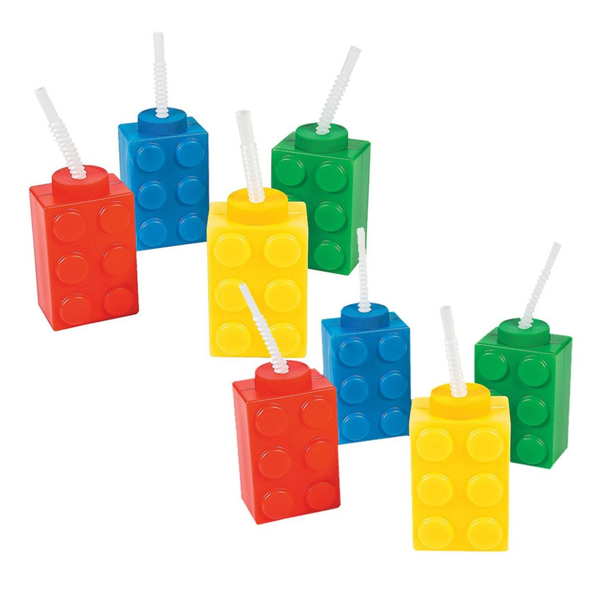 8 building block Reusable Cups with Straws - Party Cups by fun express