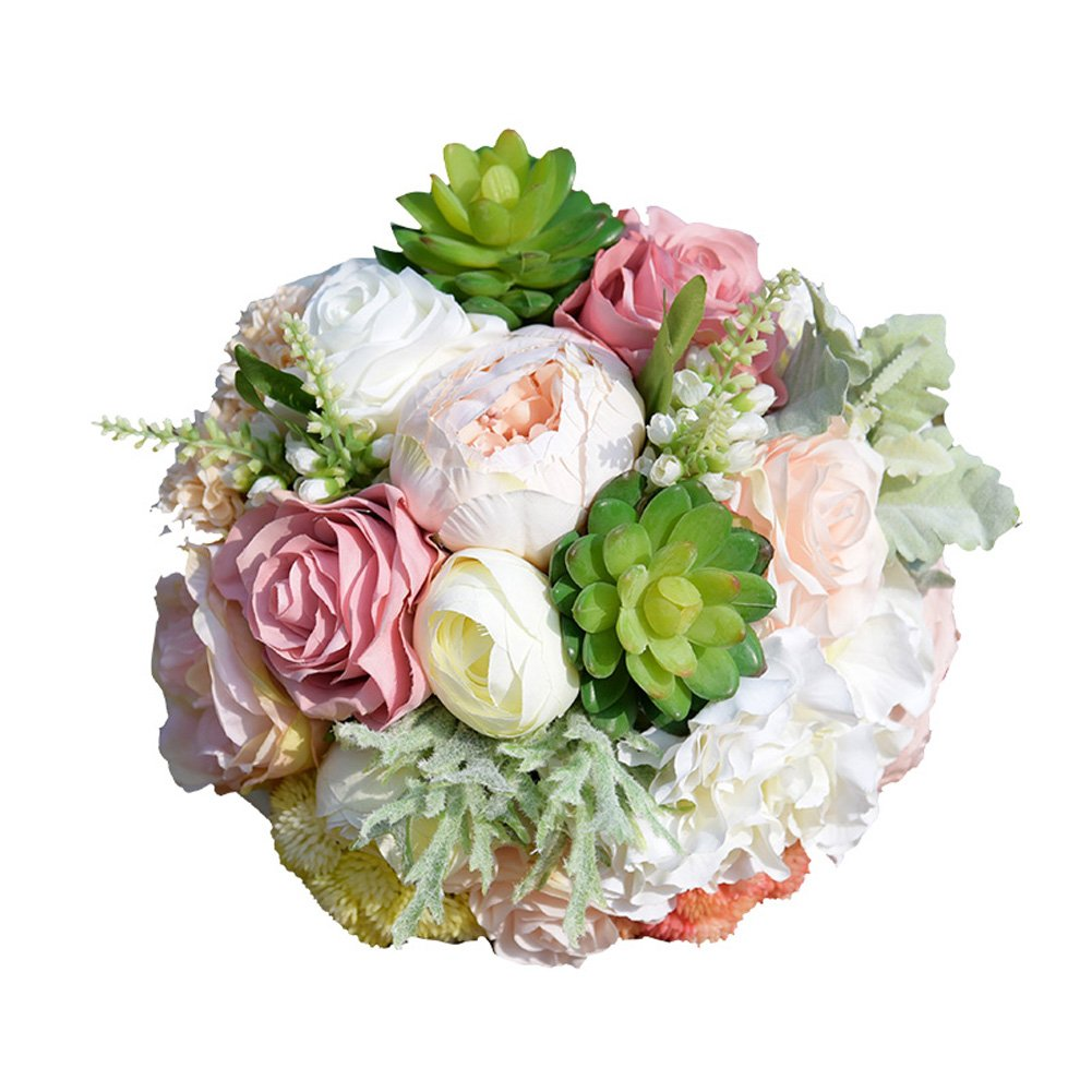 ウェディングブライダルブーケウェディングHoldingブーケ人工バラSucculent Perfect for Wedding、教会、パーティー、ホームデコレーション B074Q99R8Z