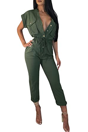 3c26d2f69ba2 Amazon.com  Ermonn Womens Sexy V Neck Jumpsuits Button Down Tie Waist  Drawstring Jumpsuit Rompers  Clothing