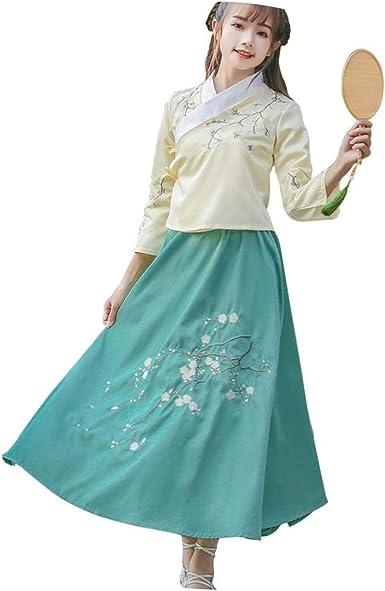 Tradicional Ropa China para Mujer Hanfu Largo Falda de Baile con Hebilla de Disco Cheongsam Camisa: Amazon.es: Ropa y accesorios