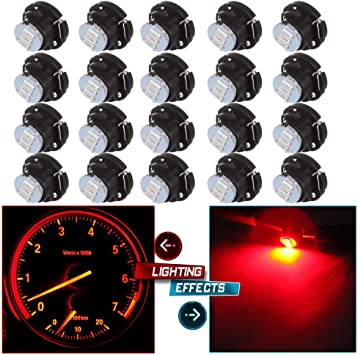 cciyu 6 Pack T4.7 Neo Wedge 5050 Led Replacement fit for A//C Climate Heater Control Bulbs Lamp Light red