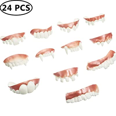 Gnarly Teeth Gag Teeth Ugly Fake Teeth Bob Teeth Vampire Denture Teeth for Halloween Costume Party Favors, 12 Styles (White, 24 Pieces): Toys & Games