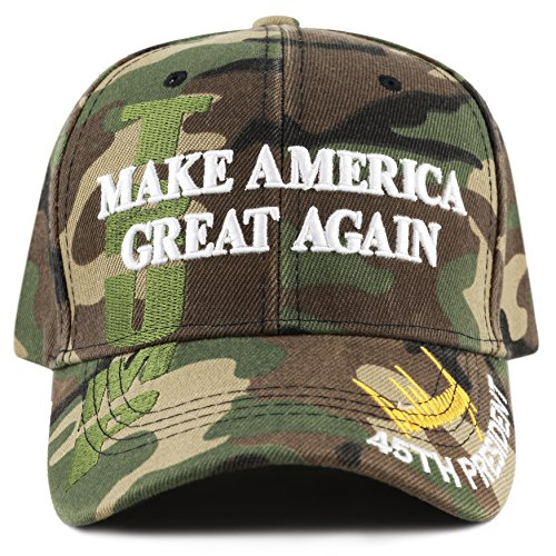 The Hat Depot Exclusive 45Th President Trump  Make America Great Again  3D Cap  Woodland Camo