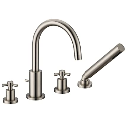Bathroom Bathtub Faucet Deck Mounted With Hand Shower Brushed Nickel