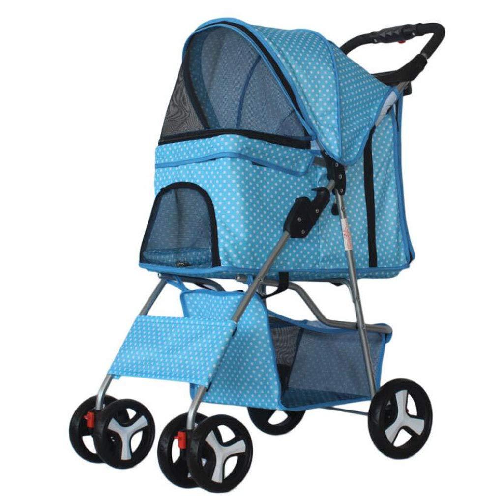 bluee1 Lightweight Folding Pet Stroller Dog Cat Four Wheel Pet Stroller Pet Supplies (color   bluee1)