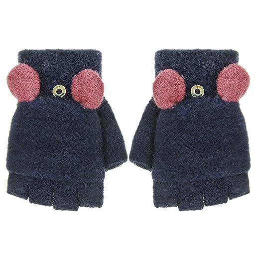 Women Cartoon Flip Top Gloves Mittens Hand Warmer Winter Warm Knitted Convertible Half Finger With Cover