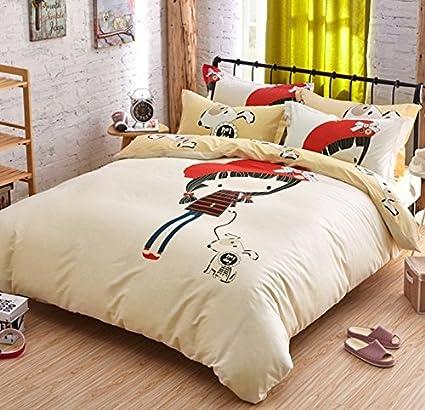 4 piezas Juego de cama, niña y perro ropa de cama, color beige y