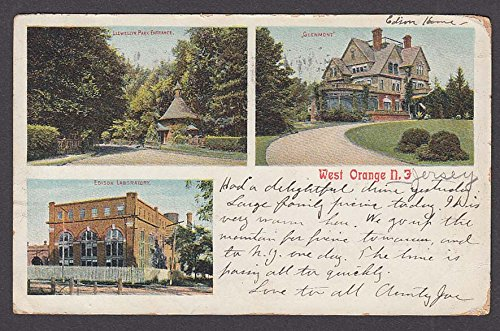 Llewelyn Park Edison Lab Glenmont West Orange NJ undivided back postcard - Edison Park Nj
