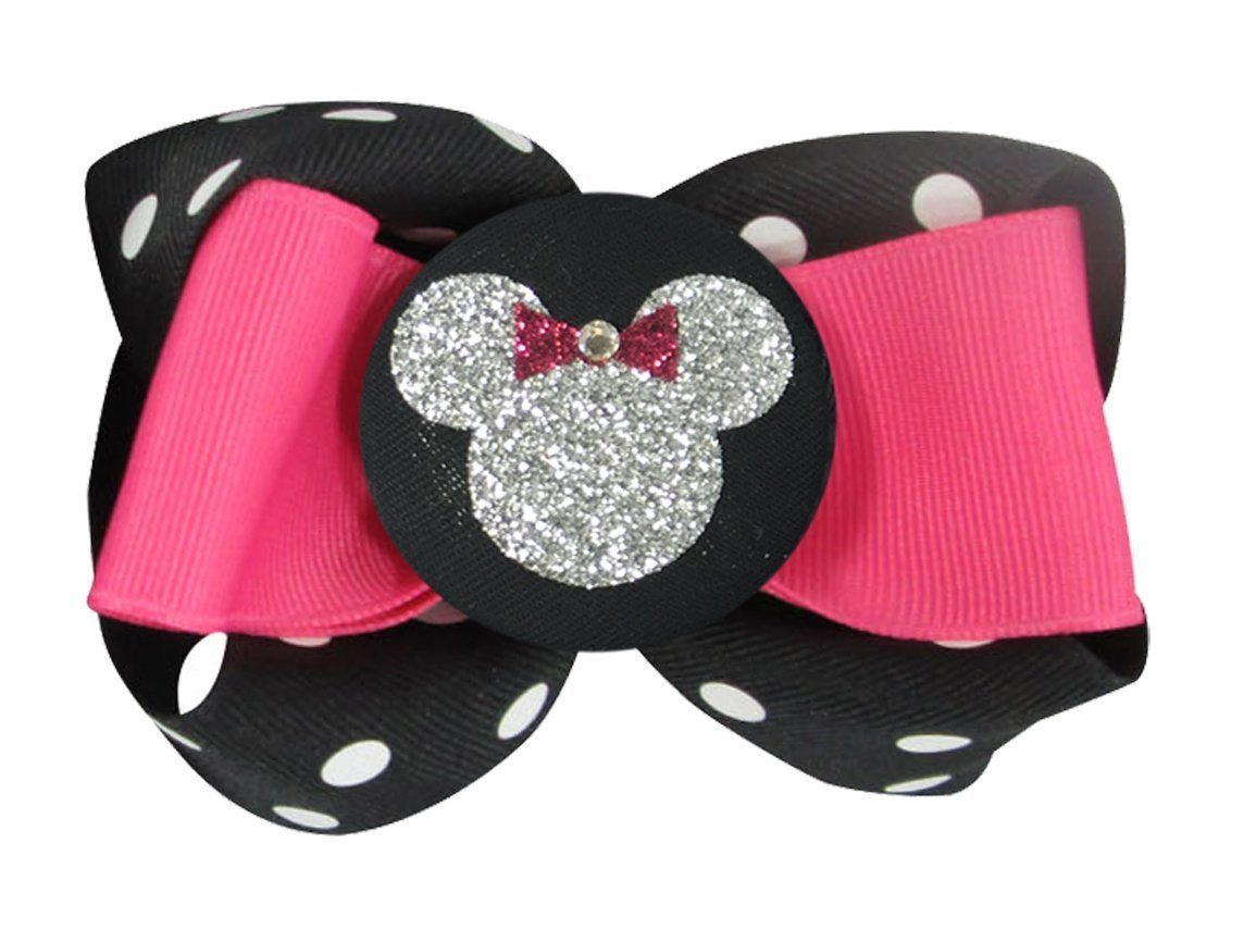 Hot Pink and Silver Glitter Minnie Mouse Hair bow clip or ponytail holder