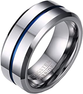 PMTIER Men's 8MM Blue Grooved Tungsten Ring Wedding Band Silver Tone (Size N 1/2-Y)