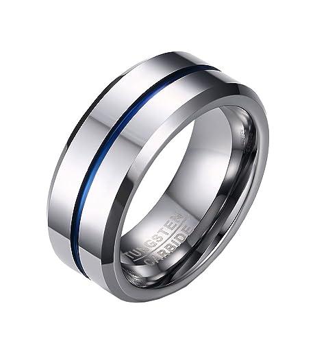 PMTIER Hombres 8MM Azul EstriadoTungsteno Anillo de bodas Plata Tono Talla 17