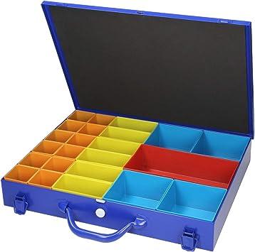 ECD Germany Caja de Surtido Herramientas Plástico Plegable 44x34x7cm Maletín Azul Estuche Chapa de Acero Organizador de Bricolaje Cajón con 23 Compartimentos Deslizantes en PVC de Colores: Amazon.es: Bricolaje y herramientas