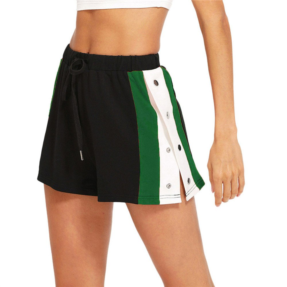 Women Summer Shorts, Feitengtd Summer Elastic Three-Color Stitching Sports Wide Leg Casual Pants Green