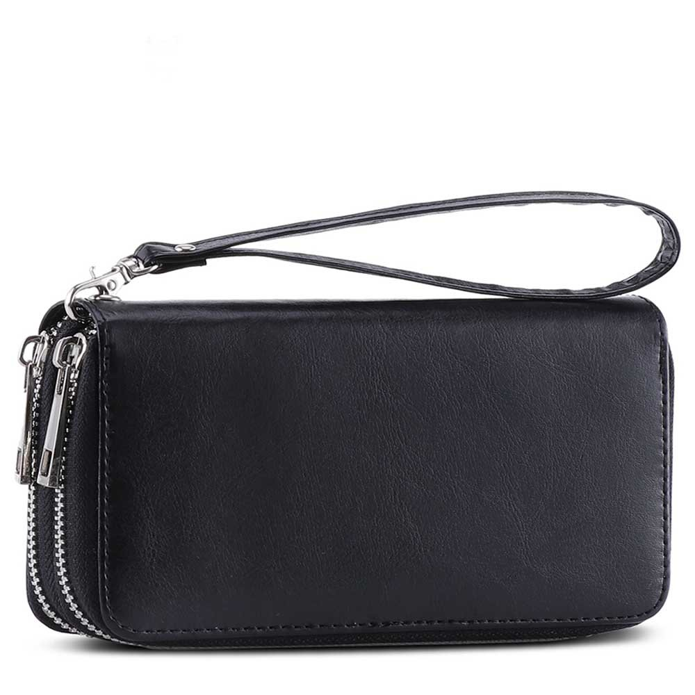 XeYOU Double Zipper Around Long Clutch Wallet Card Holder Purse with Coin Pocket for Cash, Coin, Card and Smart Phone (Black with Wristlet Strap)