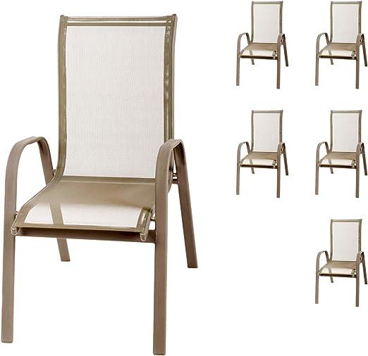 FineHome - Juego de 6 sillas apilables XL para jardín (Revestimiento Textil, Aluminio), Color champán: Amazon.es: Jardín