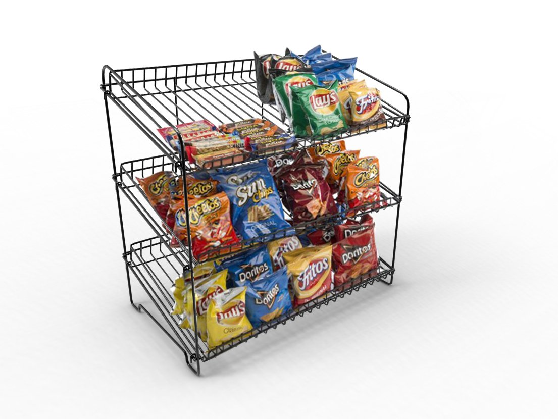 FixtureDisplays 23.0'' x 23.0'' x 13.3'' Wire Rack for Countertop Use with 3 Open Shelves, Black 19396