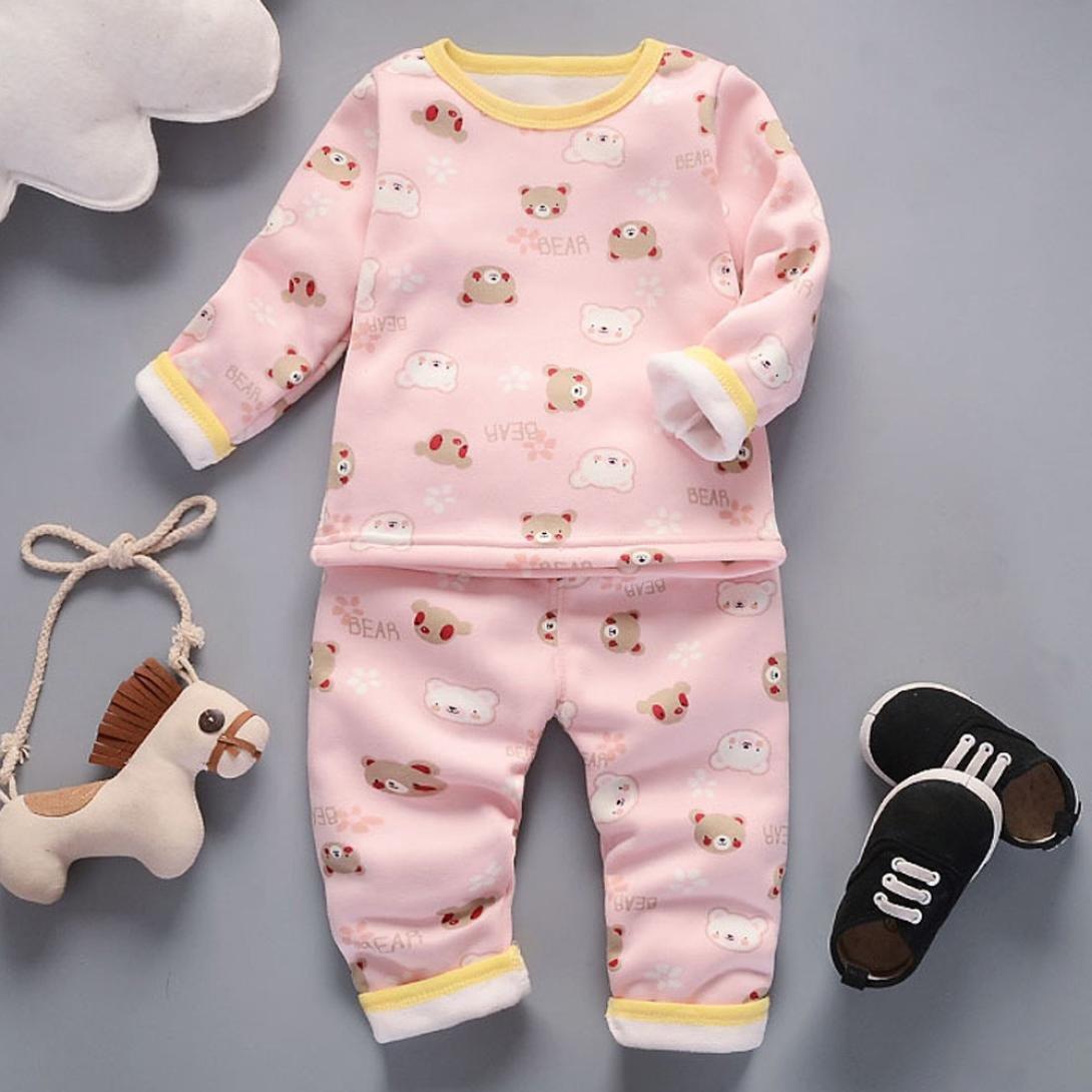 5e8b17c97c3d Voberry Fashion Baby Cute Boy Girl Cartoon Printed Round Collar Long ...