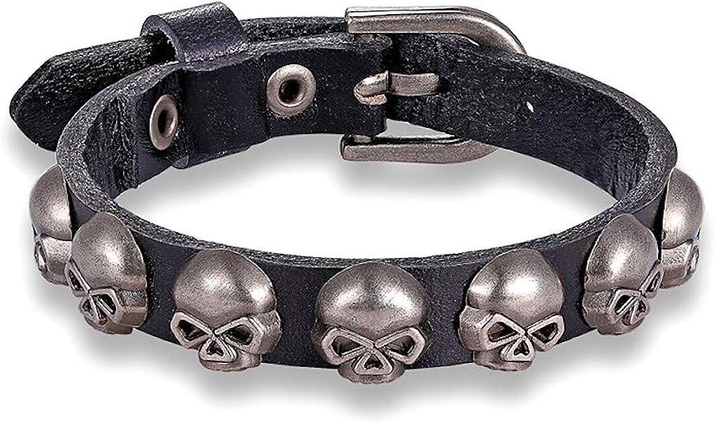 KUSTOM FACTORY Bracelet Homme Cuir Noir T/ête de Mort