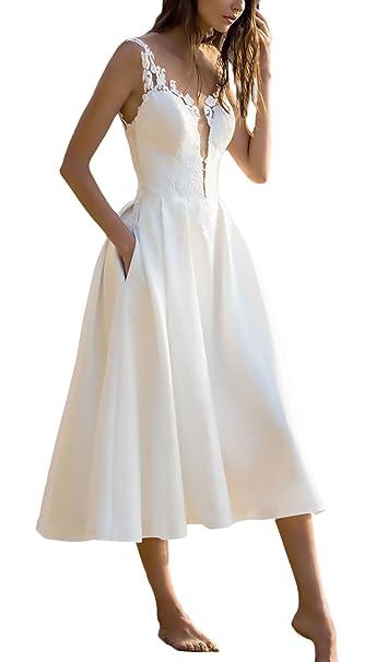 Vestidos De Fiesta para Bodas Mujer Elegantes Sin Mangas V Cuello Una Niñas Ropa Línea Fashion Bonita Vestido Fiesta Vestidos Coctel Blanco S-XL: Amazon.es: ...